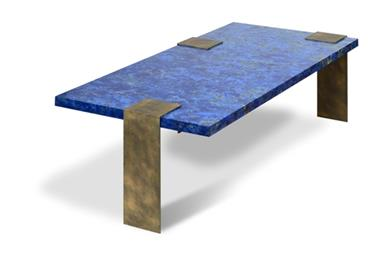 Coffee Table With Scagliola Top and Painted Steel Legs.